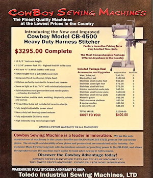 Cowboy CB4500 magazine ad, featuring complete package deal pricing.